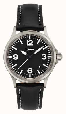 Sinn 556 uma pulseira de couro de safira esportes vidro 556.014 BLACK LEATHER WHITE STICH