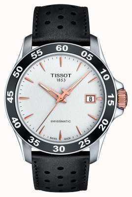 Tissot Mens v8 swissmatic t-sport pulseira de couro preto T1064072603100
