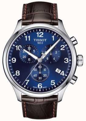 Tissot Mens t-sport xl cronógrafo mostrador azul pulseira de couro marrom T1166171604700