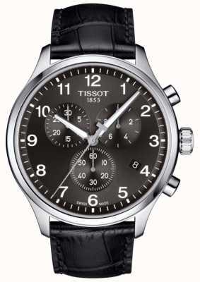 Tissot Mens t-sport xl cronógrafo mostrador preto pulseira de couro preto T1166171605700