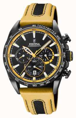 Festina Bracelete de couro para relógio masculino cromada em pvd preto F20351/4