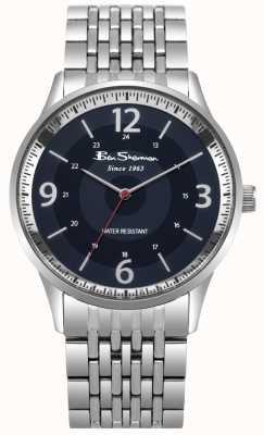 Ben Sherman Mens roteiro azul mostrador pulseira de aço inoxidável relógio BS001USM