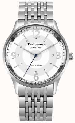 Ben Sherman Relógio de pulseira de aço inoxidável de mostrador branco de roteiro Mens BS001SM