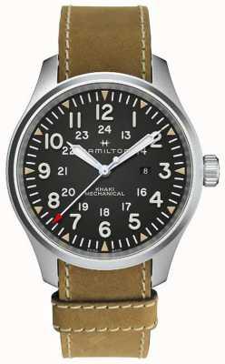 Hamilton Caqui campo mecânico 50mm pulseira de couro marrom H69819530