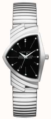 Hamilton Ventura flex quartzo preto dial aço inoxidável H24411232