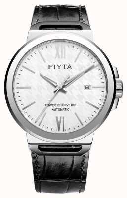FIYTA Solo de couro preto automático branco seletor de safira GA852000.WWB
