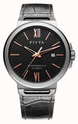 FIYTA Solo preto automático de couro preto dial safira GA852000.BBB