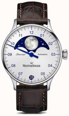 MeisterSinger Pangea lunascope prata mostrador pulseira de couro marrom LS901