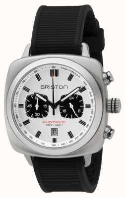 Briston Clubmaster sport pulseira de borracha preta mostrador branco 16142.S.SP.2.RB