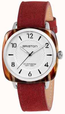 Briston Discagem clubmaster chique vermelho pulseira branca 18536.SA.RE.2G.LNR