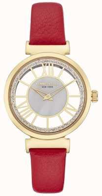Kenneth Cole Womesn gold silver dial pulseira de couro vermelho KC50189001