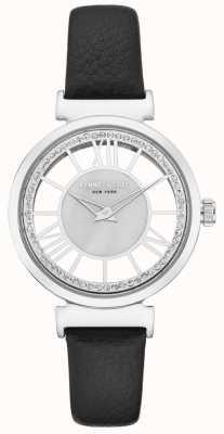 Kenneth Cole Caixa de aço inoxidável para senhoras em uma pulseira de couro preta KC50189002