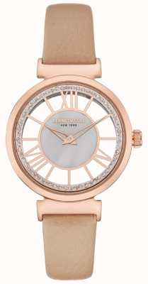 Kenneth Cole Womens rose gold silver dial pulseira de couro bege KC50189003