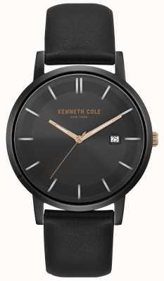 Kenneth Cole Caso dos homens e mostrador de data de discagem pulseira de couro preto KC15202004