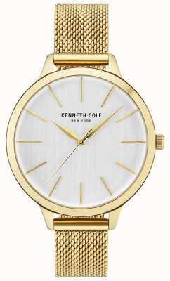 Kenneth Cole Pulseira de malha de ouro de mostrador branco caso ouro das mulheres KC15056011