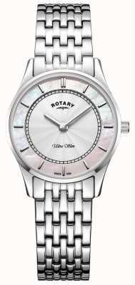 Rotary Mãe de pulseira ultra slim prata tom de mulheres de dial peal LB08300/07