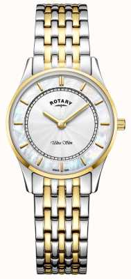 Rotary Womens ultra slim mãe de pulseira de dois tons de seletor de peal LB08301/41