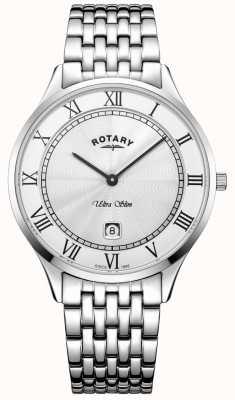 Rotary Mens ultra slim branco mostrador relógio de aço inoxidável GB08300/01
