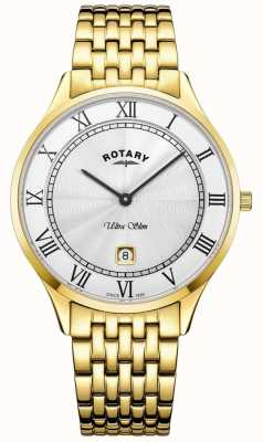 Rotary Mens ultra slim mostrador branco ouro tom relógio de aço inoxidável GB08303/01