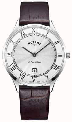 Rotary Relógio de pulseira de couro marrom ultra slim Mens GS08300/01