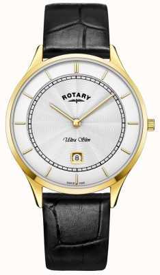 Rotary Mens ultra slim relógio pulseira de couro preto GS08303/02