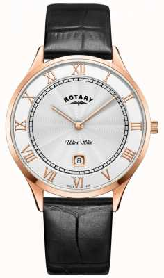 Rotary Mens ultra slim relógio pulseira de couro preto GS08304/01