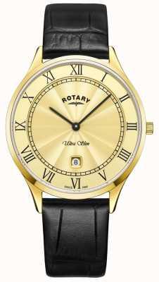 Rotary Mens ultra slim relógio pulseira de couro preto GS08303/03