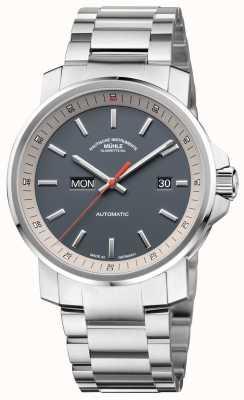 Muhle Glashutte O 29er tag datum pulseira de aço inoxidável relógio com mostrador cinza M1-25-34-MB