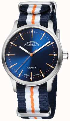 Muhle Glashutte Panova bleu edição limitada pulseira laranja azul sintética M1-40-72-NB