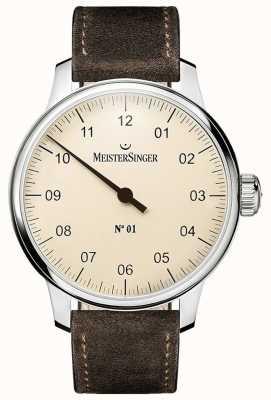 MeisterSinger No. 1 40mm e ferida sellita camurça pulseira marrom DM303