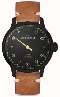 MeisterSinger Pulseira de couro castanho claro de mão única linha preta AM902BL