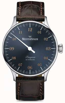 MeisterSinger Pangea automático aço azul dial dark brown croc print PM917G