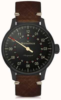 MeisterSinger Perigraph linha preta automática pulseira de couro marrom escuro AM1002BL
