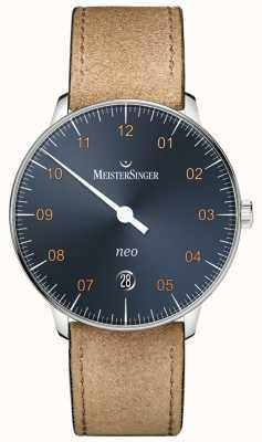 MeisterSinger Neo automatic steel blue dial pulseira de couro de camurça NE917G