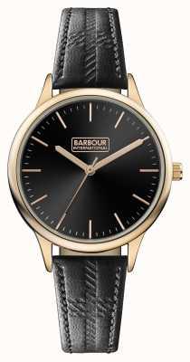 Barbour Mens embleton pulseira de couro preto mostrador preto BB058RSBK