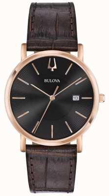 Bulova Mens vestido relógio pulseira de couro marrom mostrador preto 97B165