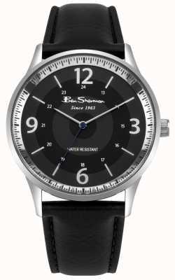Ben Sherman Mens black dial pulseira de couro preto relógio de roteiro BS001BB