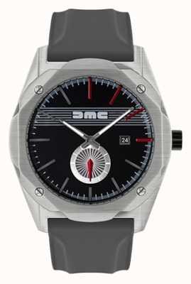 DeLorean Motor Company Watches O sonho avanço cinza pulseira de silicone mostrador preto DMC-5