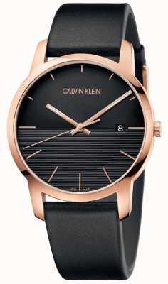 Calvin Klein Relógio de couro de ouro rosa cidade Mens K2G2G6CZ