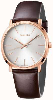 Calvin Klein Mens pulseira de couro marrom subiu relógio de ouro K8Q316G6