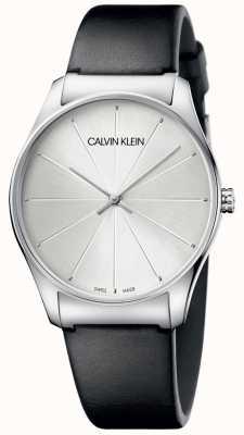 Calvin Klein Senhoras de couro preto relógio de marcação de prata K4D211C6