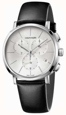 Calvin Klein Relógio de discagem prateado de couro preto para homem K8Q371C6