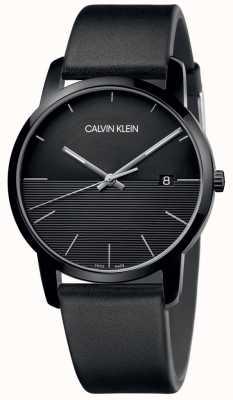 Calvin Klein Mens preto couro preto relógio de discagem K2G2G4C1