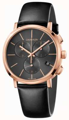 Calvin Klein Relógio de cronógrafo de couro preto para homem K8Q376C3