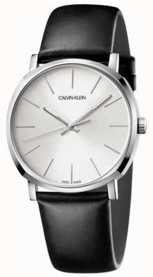 Calvin Klein Relógio de discagem prateado de couro preto para homem K8Q311C6