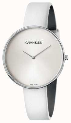 Calvin Klein Relógio de mostrador branco de couro branco de senhoras K8Y231L6