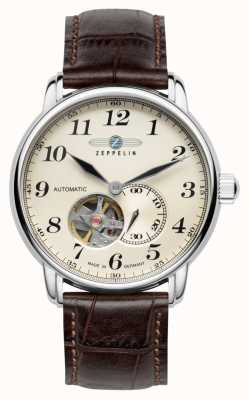 Zeppelin Lz 127 graf pulseira de couro marrom automático 7666-5