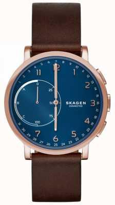 Skagen Hagen conectado relógio inteligente pulseira de couro marrom mostrador azul SKT1103