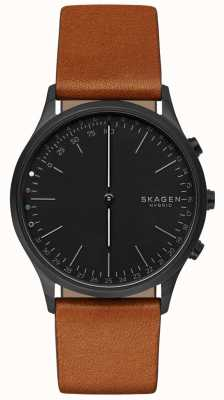 Skagen Jorn conectado relógio inteligente pulseira de couro marrom mostrador preto SKT1202