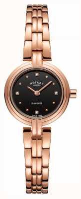 Rotary Diamantes negros de mulheres discagem pvd banhado a ouro rosa inoxidável LB00414/15